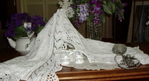 Lacy blanket on display