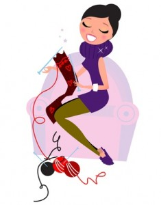 Woman knitting happily