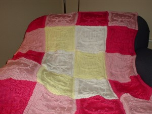 AJs blanket in pink and white