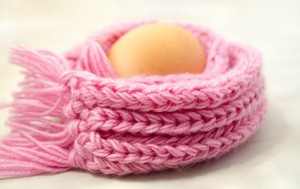 egg in a pink knitted scarf