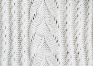 knitting pattern on white yarn