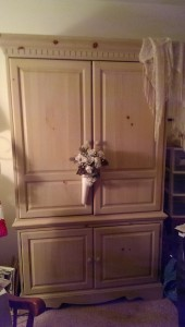 Armoire with knitting stash