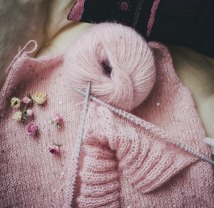 Pink yarn and pretty knitting