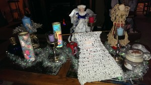 Swanky scarf on glitter