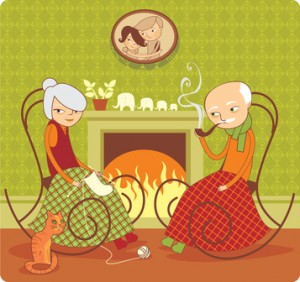 Couple knitting by the fire