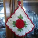 White/red crocheted diamond