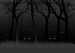 animals eyes staring out from the dark woods