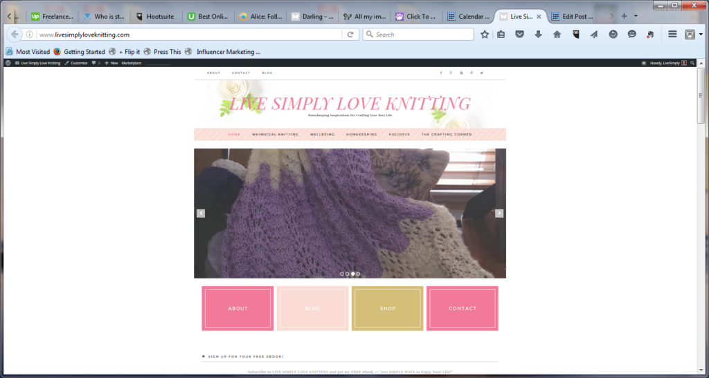 screenshot of Live Simply Love Knitting